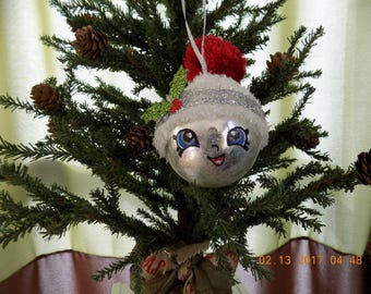 Super cute hand made glass ball ornament ice snowball with hat and hand painted face
