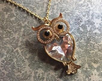 Metal and Rhinestone Owl Pendant Necklace, Jewelry For Her, Owl Pendant, Owl Necklace, Gifts for her
