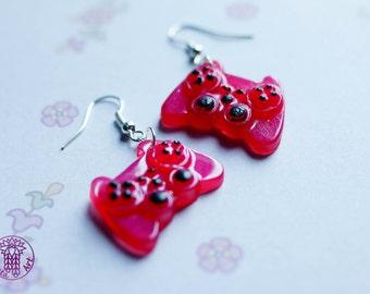 Magenta Gamepad Earrings - Nickel free