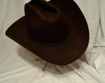 vintage, RESISTOL XXX BEAVER, self-adjusting cowboy hat, dark brown, western, collectibles, clothing, accessories, cowboy