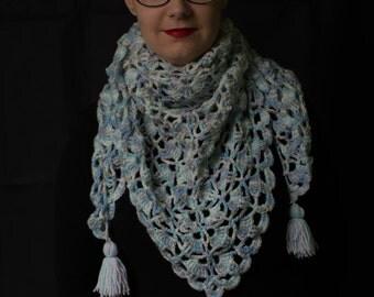 Handmade, crochet poncho, crochet scarf, crochet shawl, with crochet brooch.