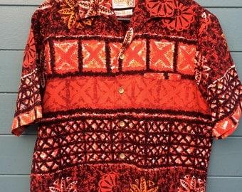 True Vintage 1950's/ 1960's Hawaiian Tiki Shirt