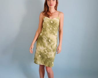 Pretty Pale Green Floral 90s Mini Dress