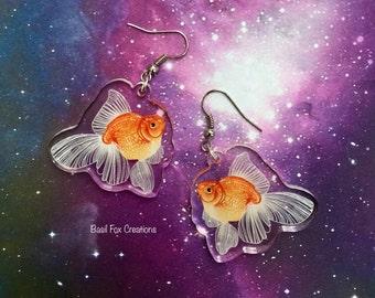 "1.5""  Goldfish acrylic Earrings double sided"
