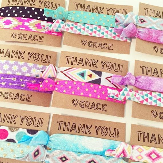 Birthday Party Hair Tie Favors | Custom Birthday Hair Tie Favors, Personalized Party Favors, Older Girls Teen Tween Sleepover Party Tie Dye