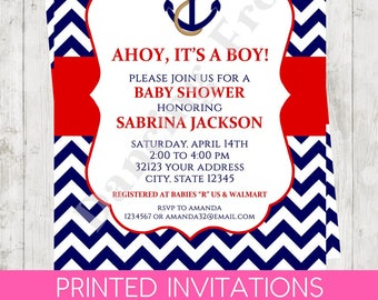 """Custom Printed 4.25X5.5"""" Chevron Nautical Anchor Baby Shower Invitations, envelopes included"""