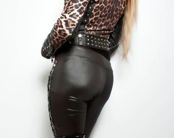 Judas Christ leopard print studded faux leather biker jacket small