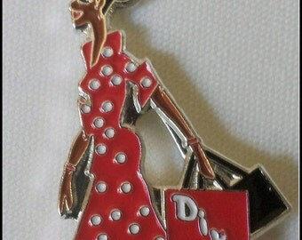 Red/White Lady Diva Lapel Pin