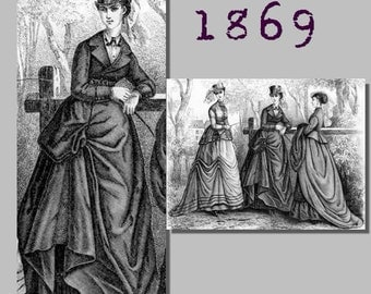 Riding Habit (Jacket, skirt and trowsers) -  Victorian Reproduction PDF Pattern - 1860's - made from original 1869 Harpers Bazar pattern
