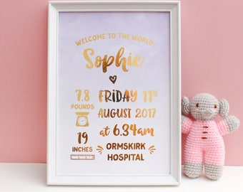 Gold Foil Birth Details Print - Nursery Art - Birth Announcement - Birth Stats Print - Gold Foil Birth Print - Personalised Baby Print
