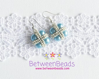 Turquoise Pearl Earrings, Teal Color Earrings, Cross Earrings, Drop Earrings, Pearl Earrings, Square Blue Turquoise Pearls