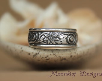 Wide Spiral and Flower Wedding Band with Sterling - Silver Edge Band - Flower Pattern Band Promise Ring - Spiral Commitment Band