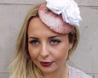 Rose Gold White Sequin Flower Fascinator Hat Wedding Hair Clip Races Vtg 2953