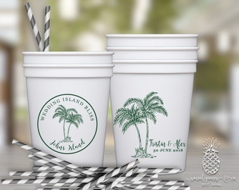 Wedding Party Cups | Personalized Cups | Tropical Plam Tree Cups | Party Favor Cups | Monogram Party Cups | Party Cups | Plastic Cups