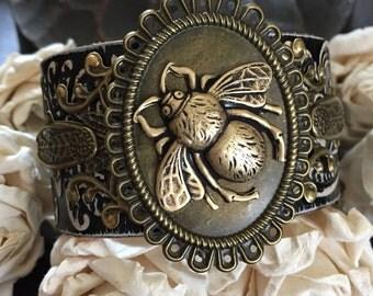 Bumble bee leather cuff bracelet, bee bracelet, bee gift, bee jewelry, chunky bracelet