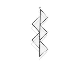 Alternative Christmas Decoration - Zig Zag - Geometric Design - Recycled Glass Ornament - Tree Hanger - Recycled Home Decor