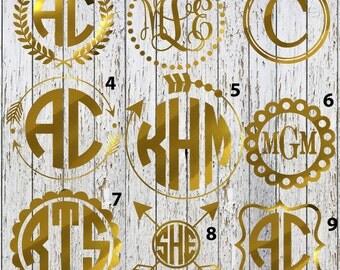 Gold mongogram decal, Chrome monogram decal, gold chrome, Monogram decal, Monogram sticker, gold yeti monogram decal, laptop decal,car decal
