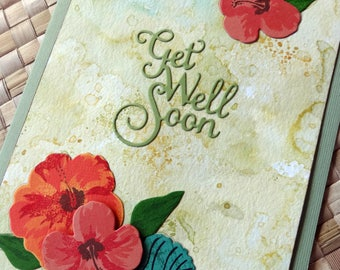 Tropical get well card with hibiscus and foliage