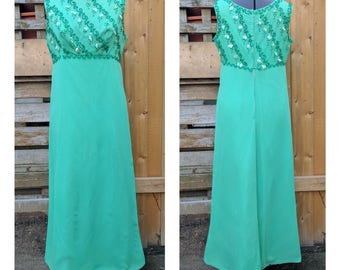 Vintage 1960's Green Full Length Empire Waist Evening Gown Silk Chiffon Over Polyester and nylon Lining With Beaded Detail