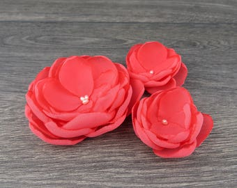 Coral Hair Flower - Coral Flower Clips - Coral Wedding - Hair Flower Clips - Coral Bridesmaids - Coral Flower Girls - Coral Fascinator