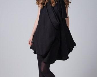 Black full circle dress / Wrap woman's dress / Short black dress / Little black dress / Bow tie woman's dress / Fasada 16153