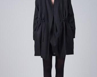 Black linen cardigan / Black oversized cardigan / Linen cardigan pockets / Woman's summer cardigan / Fasada 1730