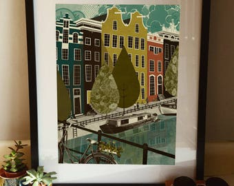 Amsterdam Bikes & Boats Illustration Poster A3