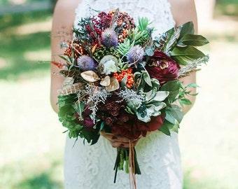 Wedding boho bouquet  Indian wedding Bridal flower bouquet Wedding bouquet Bridal bouquet Woodland bouquet Rustic bouque