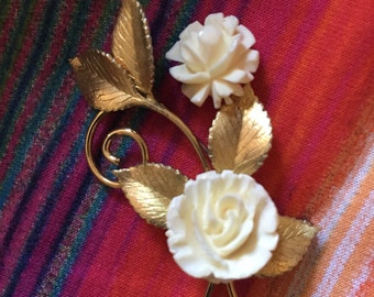 Vintage Krementz Double Rose Brooch
