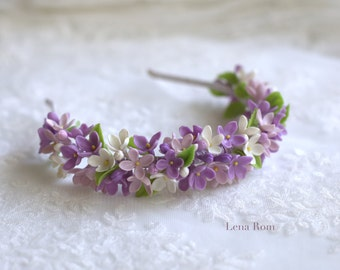SAMPLE SALE. Lilacs headpiece. Blossoms wedding headpiece. Bridal crown. Floral crown. Wedding headpiece. Bridal headpiece.Style 541