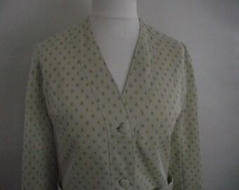 Vintage jacket by Vogue Paris Original cream green lemon v neck fitted jacket  size medium