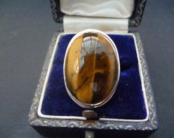 A  superb vintage tigers eye silver ring - 925 - sterling silver - UK M - US 6.5 - Full UK Hallmark