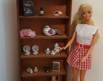 Stained 1:6 scale shelves/ room divider/ collection display/ playscale shelves/ 1 6 scale bookcase/ barbie size doll shelves/ doll shelf