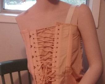 1930s Corset Peach Cotton Lace Up - Bust 34