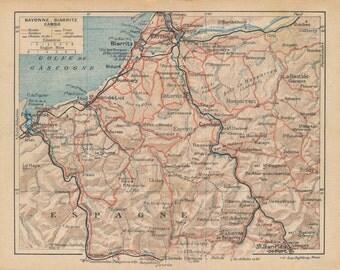 1925 Biarritz France Antique Map