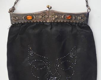 Antique Black Purse Satin Handbag Metal Embossed Frame Jeweled Amber Carbochons Art Deco Devil Face Beaded Double Sided Design