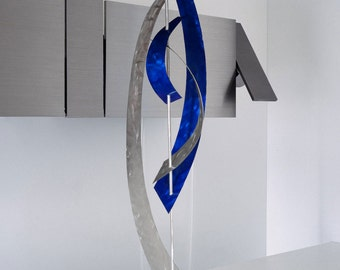 "Abstract Metal Art Decor Freestanding Table or Floor Sculpture - ""Vortex"" by Dustin Miller"