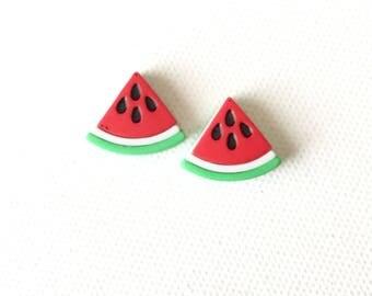 Watermelon Earrings, Watermelon Slice Earrings, Red Watermelon Earrings, Studs, Summer Fruit Earrings, Miniature Food Jewelry, Kawaii