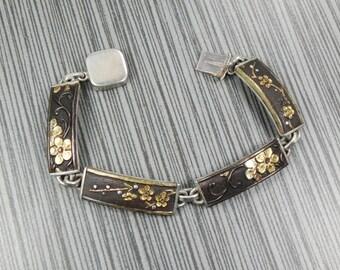 Antique Japanese Shakudo Sterling Silver Panel Bracelet Japanese Bracelet Silver Golden Black Bracelet Cherry Blossom Flowers