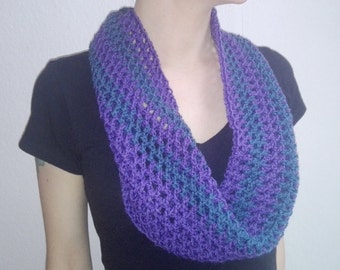 Purple infinity scarf, blue scarf, crochet cowl, handmade, unique, winter accessories