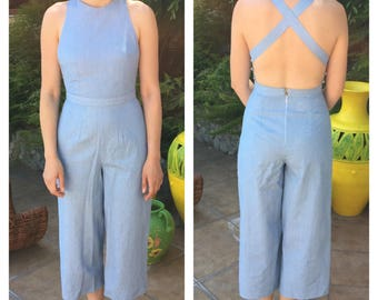 Pinafore jumpsuit / open back jumpsuit / crisscross back jumpsuit / overall jumpsuit /50s jumpsuit / 50s playsuit / low back jumpsuit
