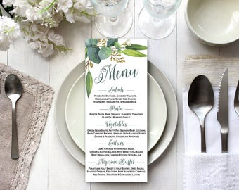 Wedding menu cards, Grenery wedding menu printable, Printable wedding menu, Leafy wedding menu, Eucalyptus wedding menu, Green wedding menu