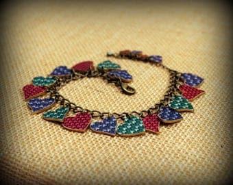 Knit Jewelry - Knitting Bracelet - Crochet Bracelet - Heart Charm Bracelet - Love Knitting - Knitting Hobby - Knitter - Shrink Plastic Art