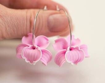 Pink Orchid Earrings. Pink flower earrings. Flower hoop earrings. Polymer clay jewelry. Pink Earrings. Hoop earrings Pink bridesmaid jewelry