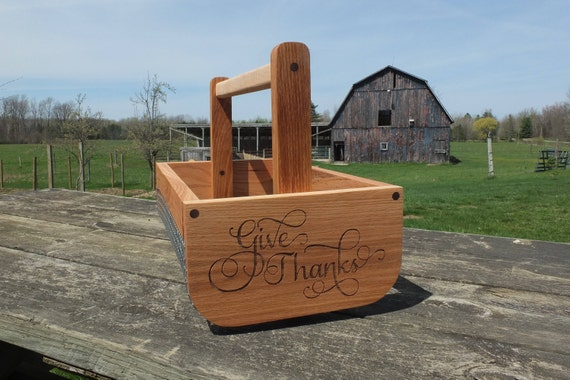 Wooden Vegetable Basket Made from Oak Wood with a Hickory Handle.