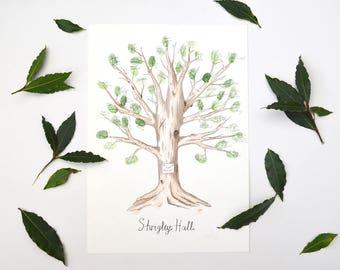 Hand Painted Fingerprint Tree Guestbook - Wedding