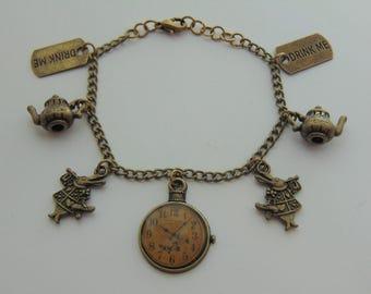 Alice In Wonderland Themed Bronze Charm Bracelet (Children's sizes available! - Unofficial)
