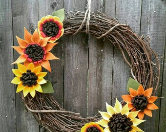 "Felt Sunflower 18"" Grapevine Wreath"