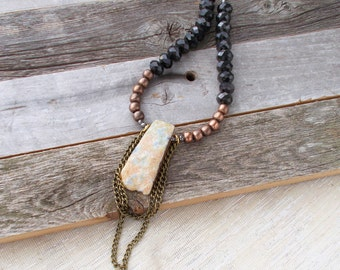 8724JN - Stone Necklace, boho luxe, bohemian luxe, bohemina gypsy, chic, eclectic boho, edgy jewelry, edgy necklace, adjustable necklace