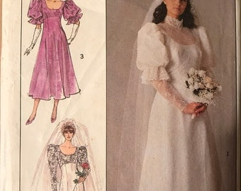 Simplicity 8426 - 1980s Wedding Gown with Raised Waist and Puffed Sleeves - Size 18 20